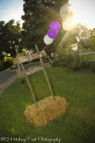 Wedding sign in hay bale