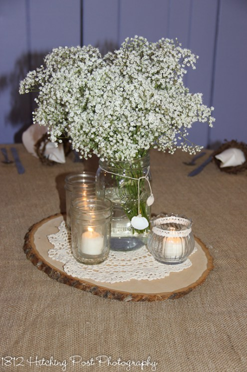 Babies breath centerpiece on burlap