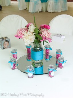 Cream with turquoise and hot pink