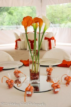 Orange sashes and napkins