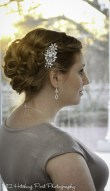 Pretty wedding hair and barette
