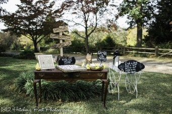 Guest book table at end of aisle