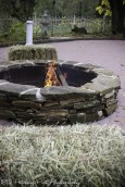 Straw bales by firepit
