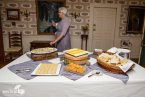 Rustic display with cheese and crackers
