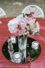 Silk Pink and White Centerpiece on mirror with tea light candles