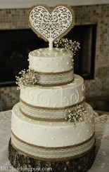 Dots and swirls, burlap and lace