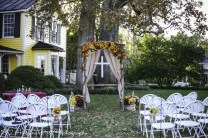 Fall arbor with burlap curtains