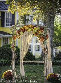 Arbor with silk flowers