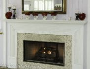 Fireplace area with red