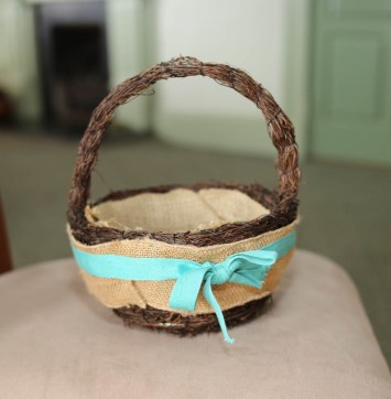 Rustic basket with turquise bow