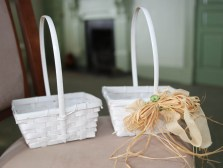 "Pair of white ""Easter"" baskets that can be embellished"