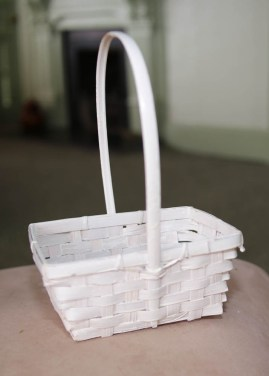 One of the white Easter baskets without embellishment
