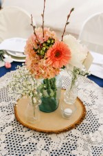 Mason jar with live coral flowers