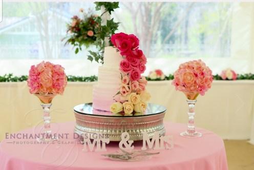 Gradient roses on gradient pink cake