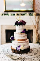 """Almost"" naked cake with plum flowers"