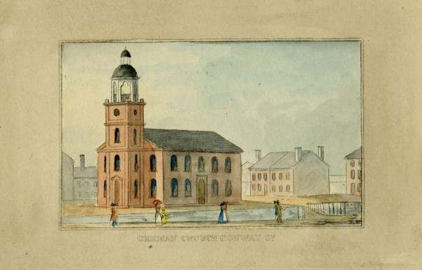 German Church from J.H.B. Latrobe's Picture of Baltimore (1832). Johns Hopkins University Sheridan Libraries, F 189.B1 P53 1842 QUARTO.