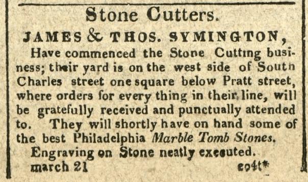 Advertisement: Stone Cutters. James & Thos. Symington