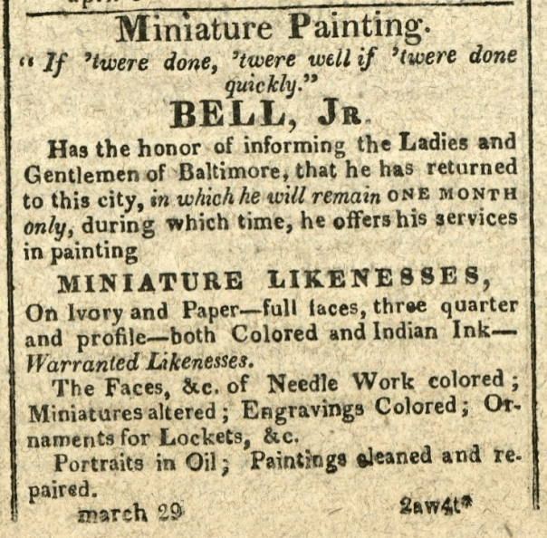 """Advertisement: Miniature Painting. """"If 'twere done, 'twere well if 'twere done quickly."""""""