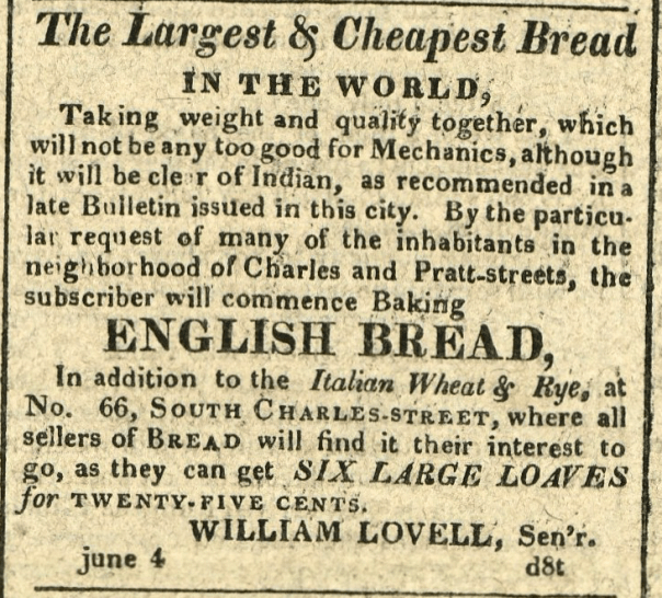 American Commercial and Daily Advertiser, June 4, 1814. Maryland State Archives SC3392