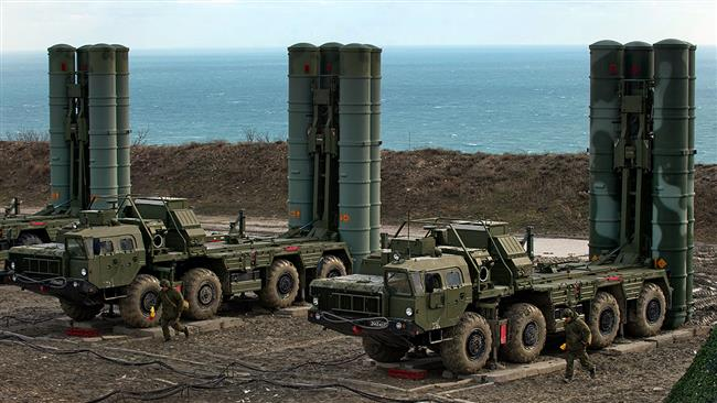 The file photo shows the Russian-made S-400 missile defense systems.