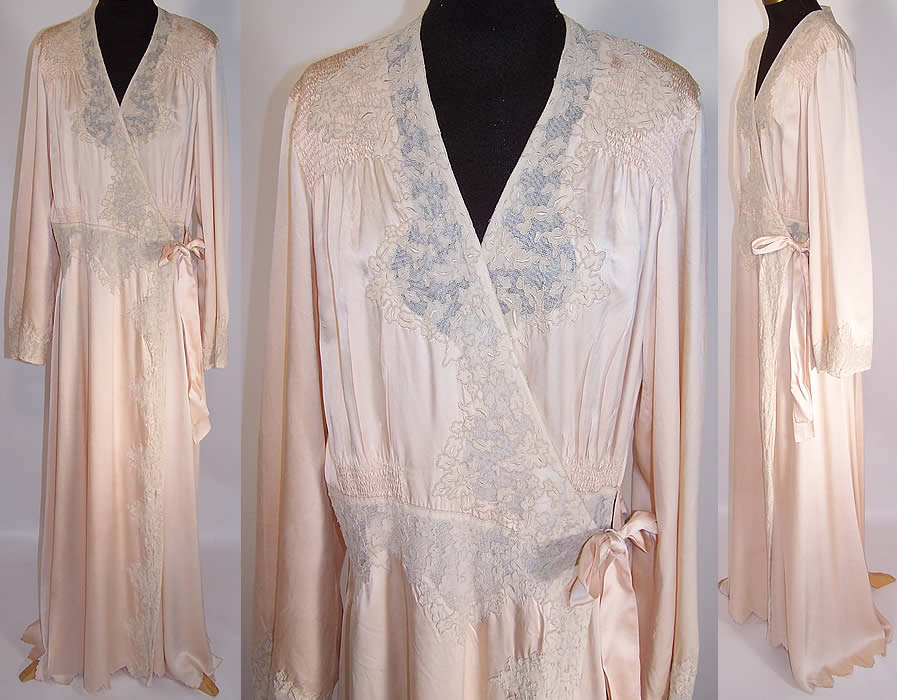 1940s Vintage Pink Silk Ecru Lace Lingerie Negligee