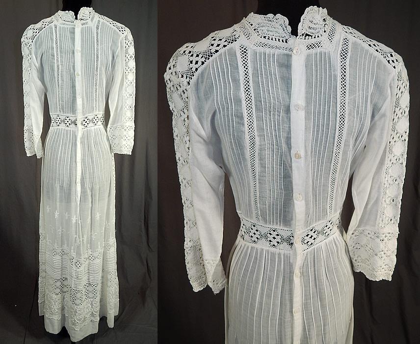 Edwardian White Cotton Batiste Fleur-de-lis Embroidered