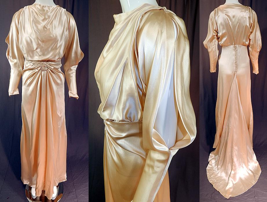 Vintage 30s Cream Silk Charmeuse Cutout Sleeve Bias Cut