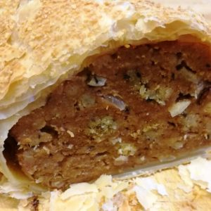Super Sausage Roll with Onion Stuffing and Relish