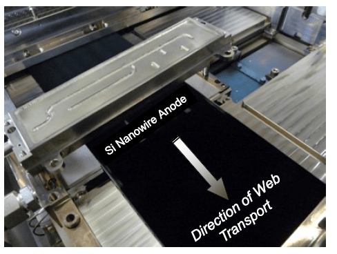 "Photograph in a DoE report by Amprius. The associated text reads ""During Q1 2016, Amprius tested a first of its kind pilot line tool for roll-to-roll production of double-sided, rooted silicon nanowire anodes"""
