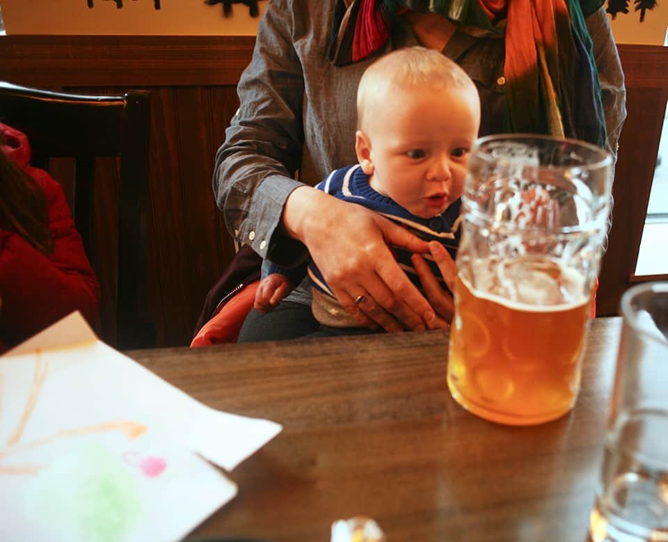 Zev is as surprised as we are at the size of the perfectly chilled beerstien