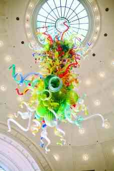 The Chihuly chandelier in Union Station looks like a sea creatur