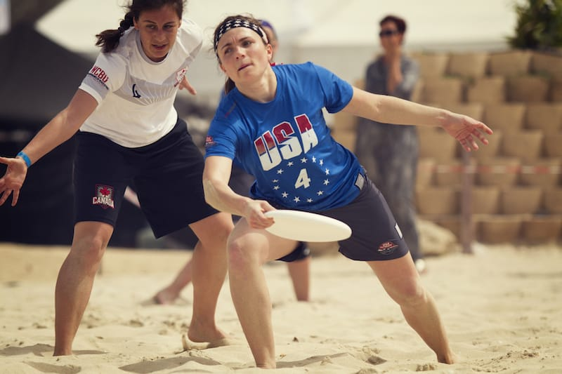 Womens Beach National Team at world championships of Beach Ultimate.
