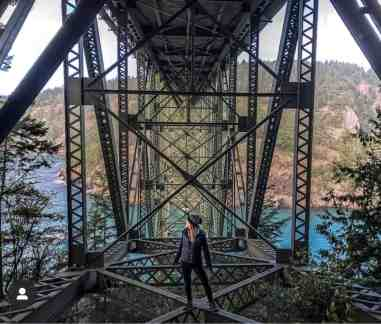 3. Deception Pass Bridge connects Whidbey Island with Washington mainland and was built in 1935 as part of FDR's New Deal. It stands 180 feet over the cobalt aqueous Deception Pass below. Enable your camera's gridlines to get these lines perfect. Post by @kelseyrileydixon