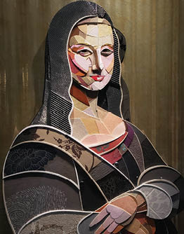 A mixed-material rendition of Mona Lisa in an art gallery on Hong Kong Island.