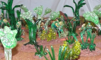 A jungle of spoons, beads, and other plastic things.