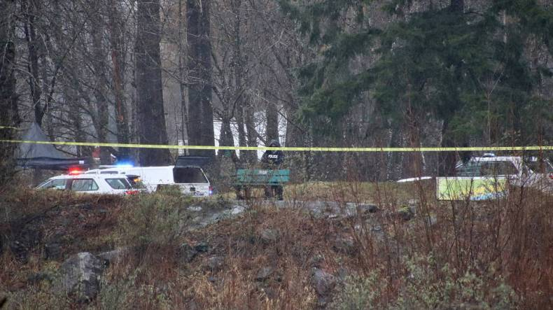 The Independent Investigations Office of BC were on scene in the parking lot by Vedder River at the end of Lickman Road Tuesday, Jan. 12, 2021 after a man was shot by police early that morning. (Submitted/ Shane MacKichan)