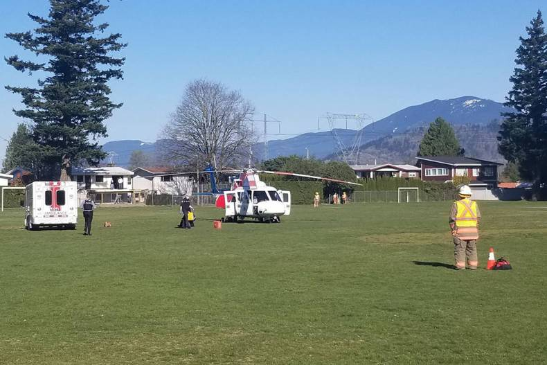Air Ambulance in the back field at Watson elementary on April 15, 2021. (Eric Welsh/ Chilliwack Progress)