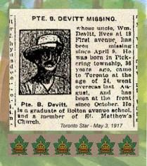 18 First Av., Toronto On. Wine Clerk. Gov General's Body Guards. Enlisted December 27, 1915 in Toronto, Ontario. Born Pickering, ON.