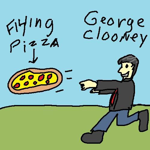 Special request for George Clooney chasing a flying pizza from Tru McGowan.  by thefrogman