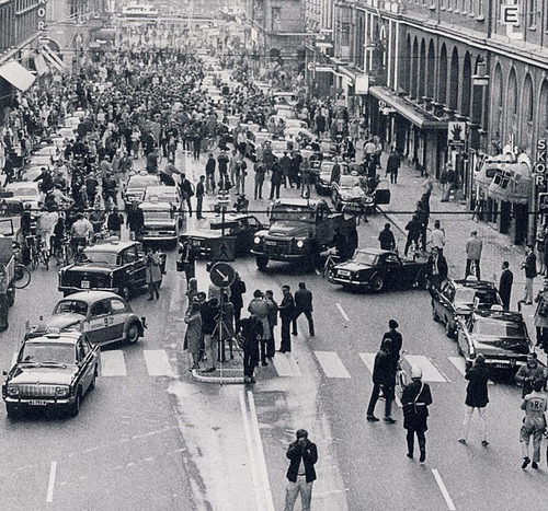 On Sept. 3, 1967, every car in Sweden came to a stop at 4:50 a.m., carefully switched from the left side of the road to the right, and proceeded at 5 a.m. The whole nation switched to right-hand traffic overnight. And to the planners' immense credit, no fatal accidents were associated with the change, and accident rates went down in the year that followed.