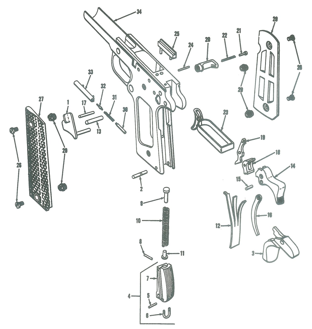 Pistol Exploded View