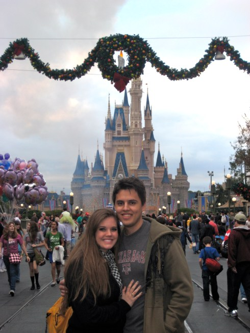 Cinderella Castle 2010 #2...moments before Louis proposed! (Check him out clutching the ring box in his pocket!)
