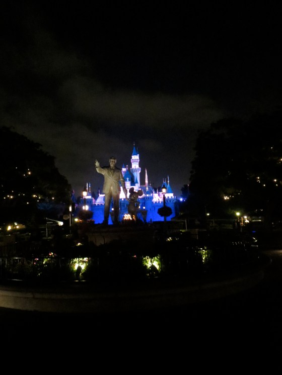 The beautiful castle with Walt waving goodbye for the night!