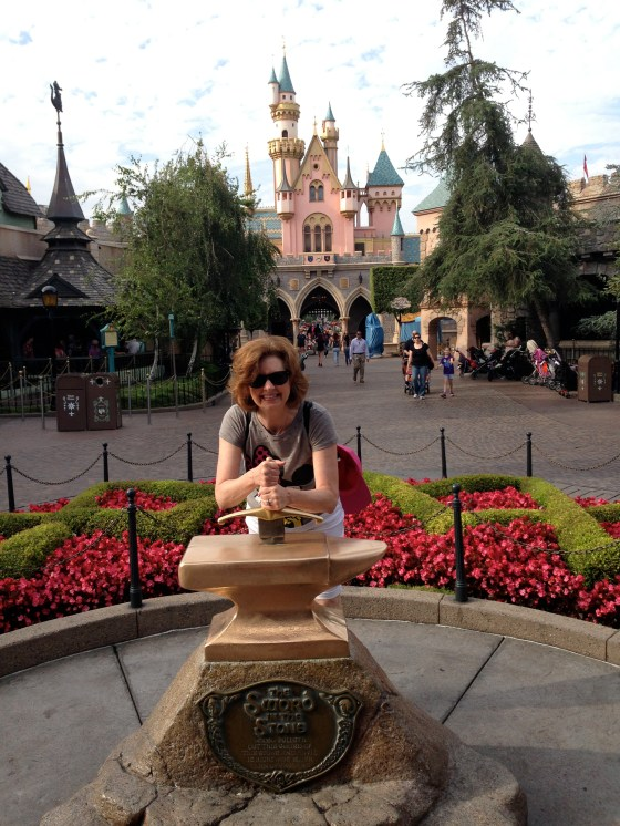 Trying to pull the sword out of the stone behind Sleeping Beauty Castle!