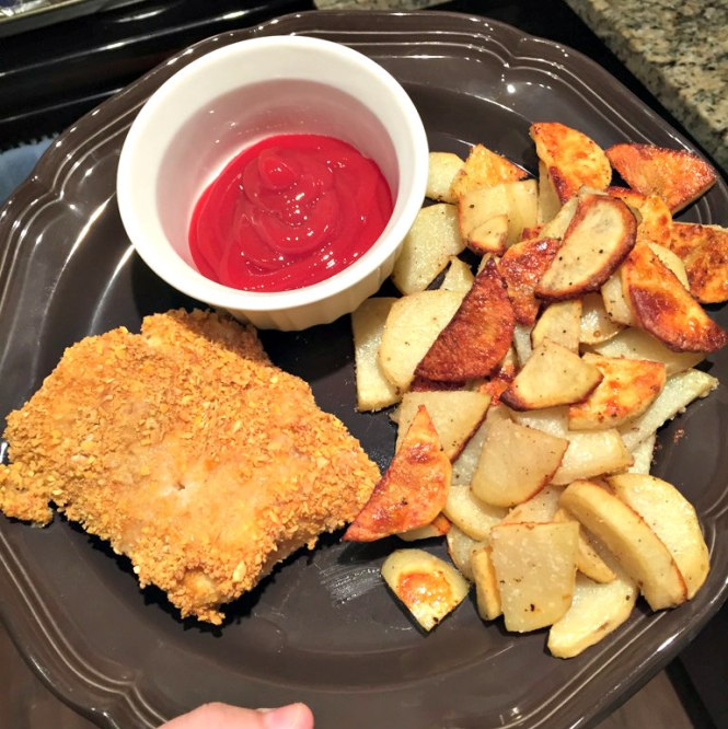 Healthy baked fish chips hoots of a night al for Baked fish and chips