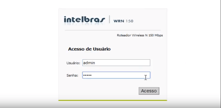 Tela de Login do Roteador Intelbrás