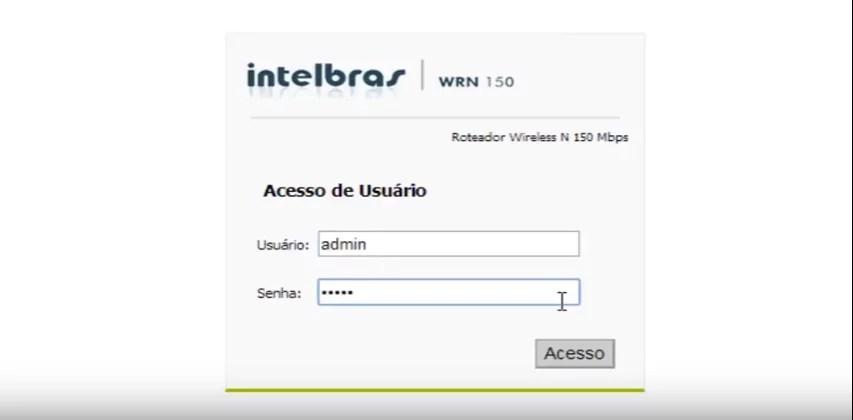 Imagem mostra a Tela de Login do Roteador Intelbrás, modelo WRN 150