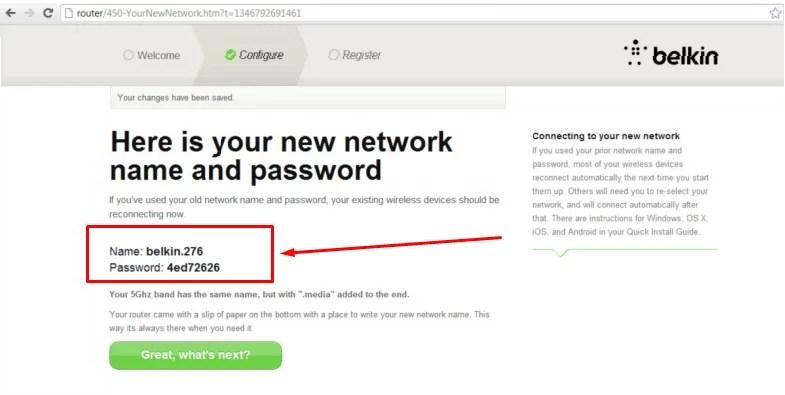 Imagem mostra dados de nome da rede e senha definidos pelo usuário