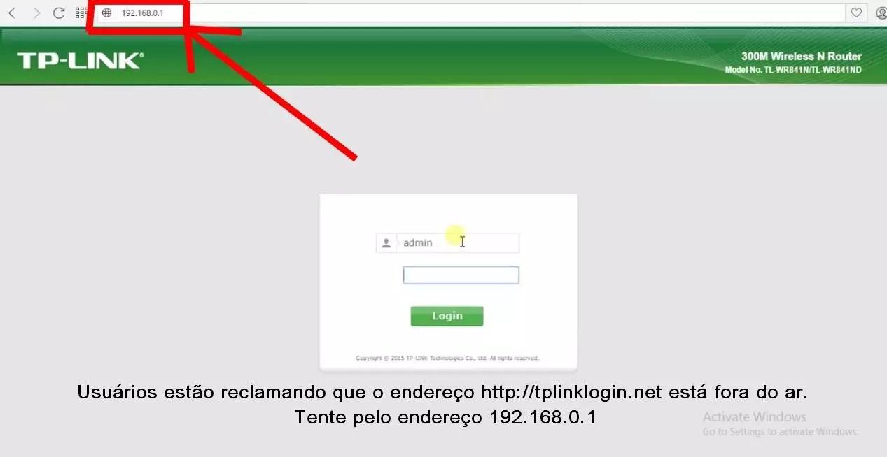 Imagem da tela de login e configuração da Tplinklogin net
