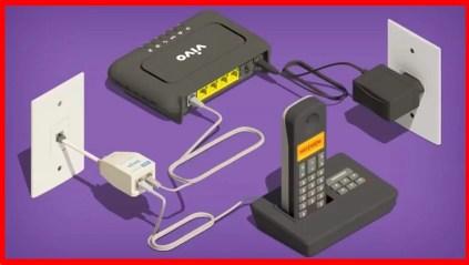 Imagem mostra o roteador vivo conectado na tomada, além de estar conectado ao telefone e filtro de linha.